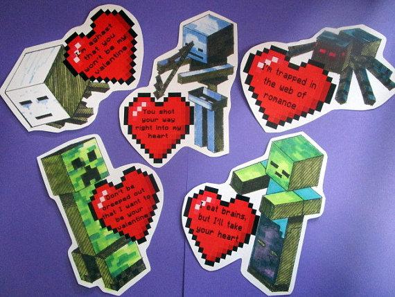 Tarjetas de San Valentin de minecraft